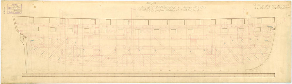 Inboard profile plan for 'Isis' (1819)
