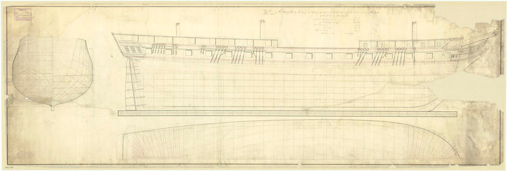 Plan showing the body plan, sheer lines with alterations to the stern, and longitudinal half-breadth for President (1829)