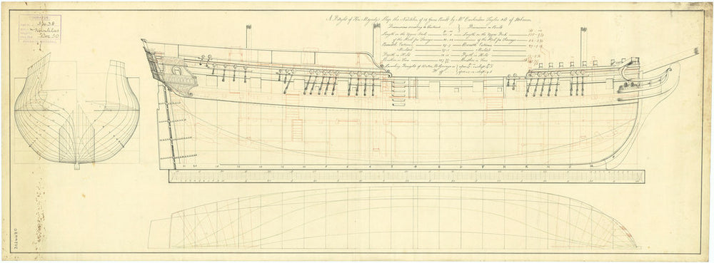 Plan of the body and sheer lines for Nautilus (1784)