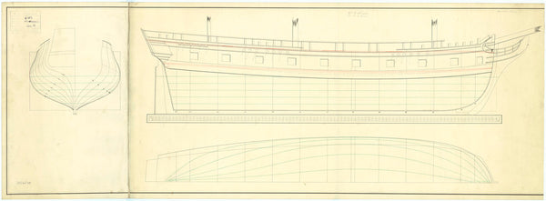 The body plan, sheer lines, and longitudinal half-breadth plans of 'Mohawk' (1782)