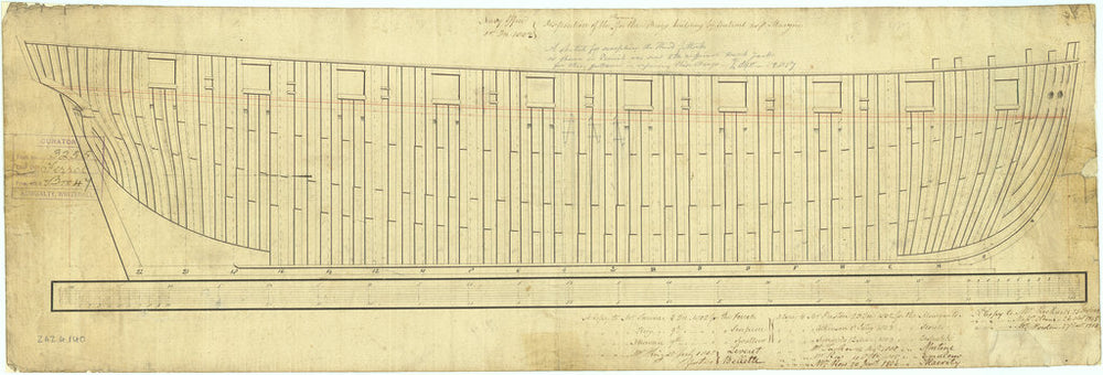 Plan showing the framing profile (disposition) for 72 of the Cruizer class (1797) all launched between 1803 and 1809