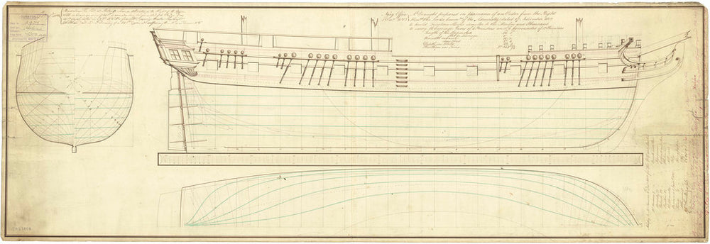 Lines plan for HM Sloop Kingfisher (1804), Albacore (1804), Ariel (1806), Brisk (1805), Cygnet (1804), Fly (1804), Halifax (1806), Helena (1804), Kangaroo (1805), Martin (1805), Otter (1805), Rose (1805), Star (1805), Wolf (1804)