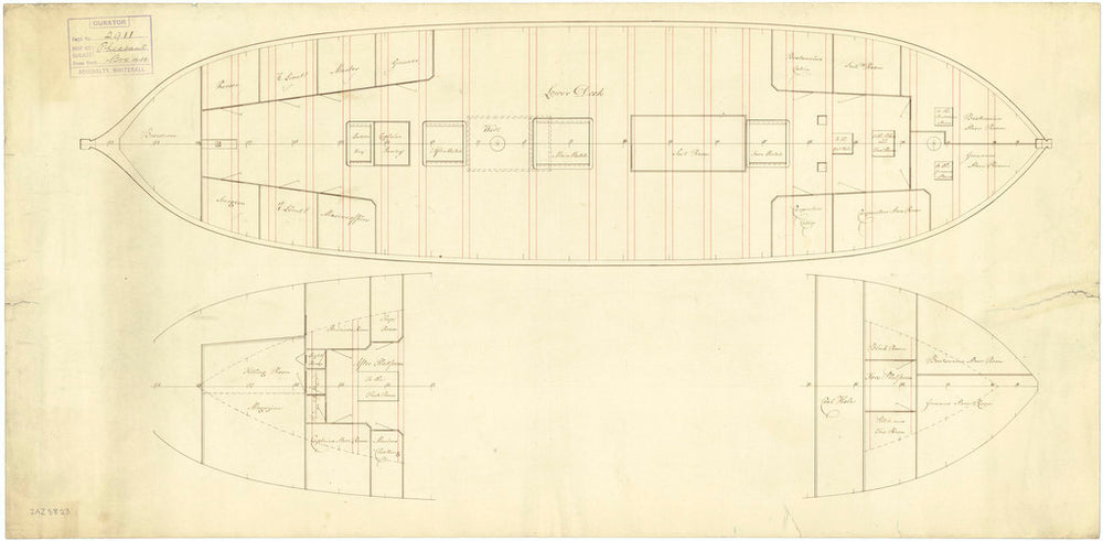 Plan showing the quarterdeck, forecastle, inboard profile and upper deck for Merlin (1798) and Pheasant (1798)