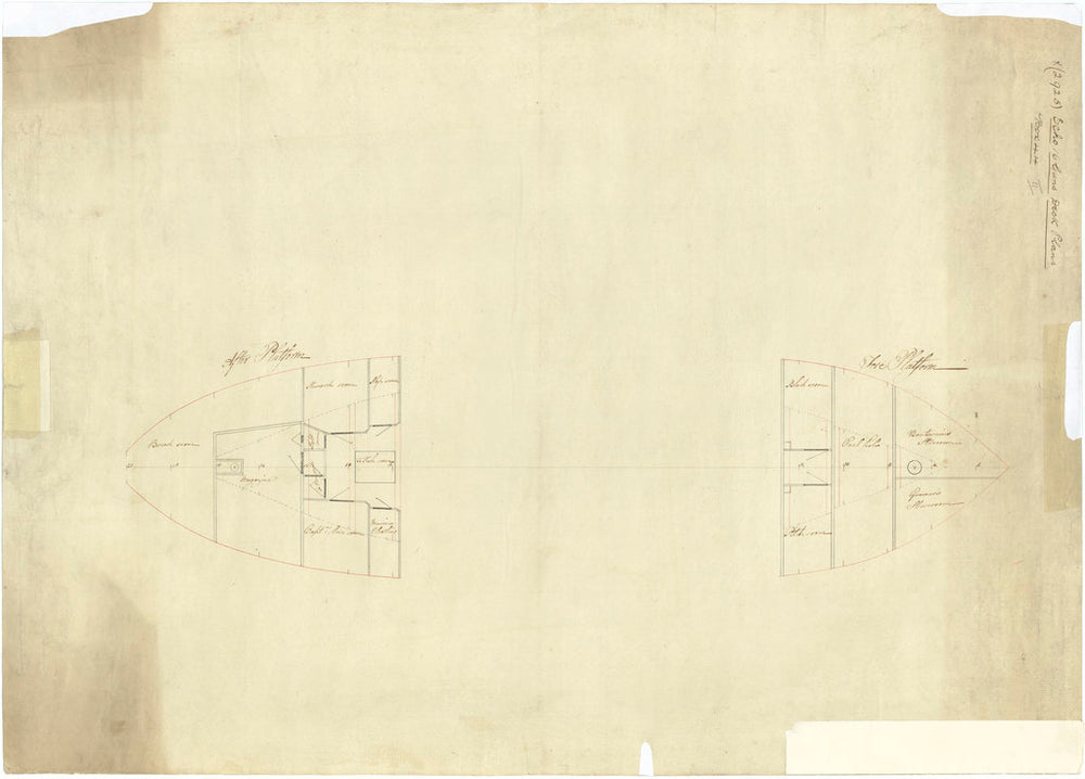 Reverse: Scale 1:48.  Plan showing the fore and aft platforms for Echo (1782)