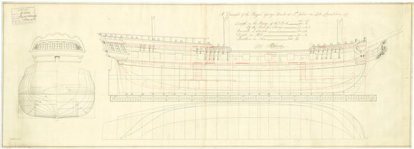 Lines & profile plan of the 'Royal George' (1777)