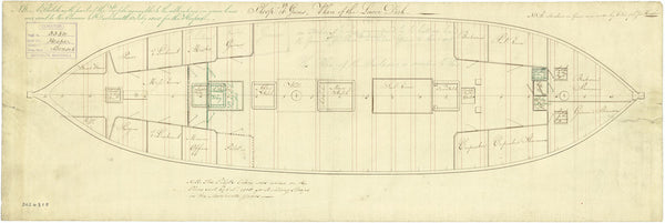 Lower deck plan for Cormorant class (1793), and modified Cormorant class (1805)