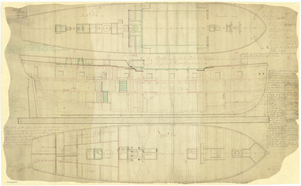 Quarterdeck & forecastle, inboard profile, and upper deck plan for Cormorant class (1793), and modified Cormorant class (1805)