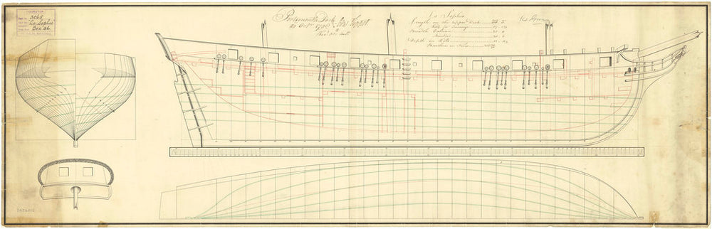 Plan of body, stern board outline, sheer lines and longitudinal half-breadth for Sophie (captured 1798)