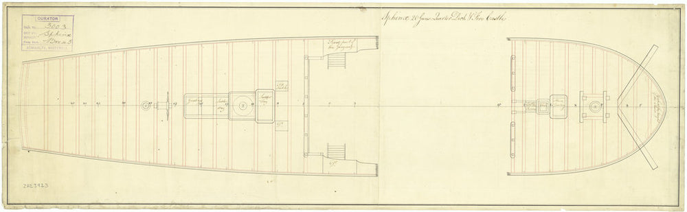 Plan showing the quarterdeck and forecastle for Sphinx (1775)