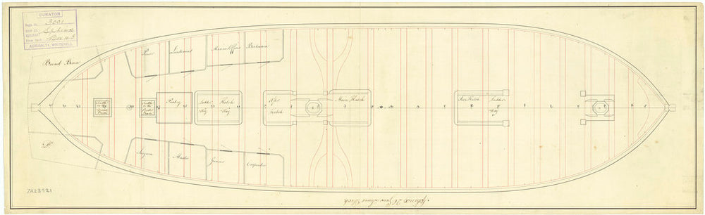 Lower deck plan of the 'Sphinx' (1775)