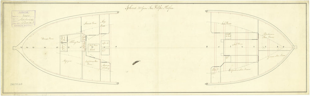 Plan showing the fore & after platform with some fittings for Sphinx (1775)