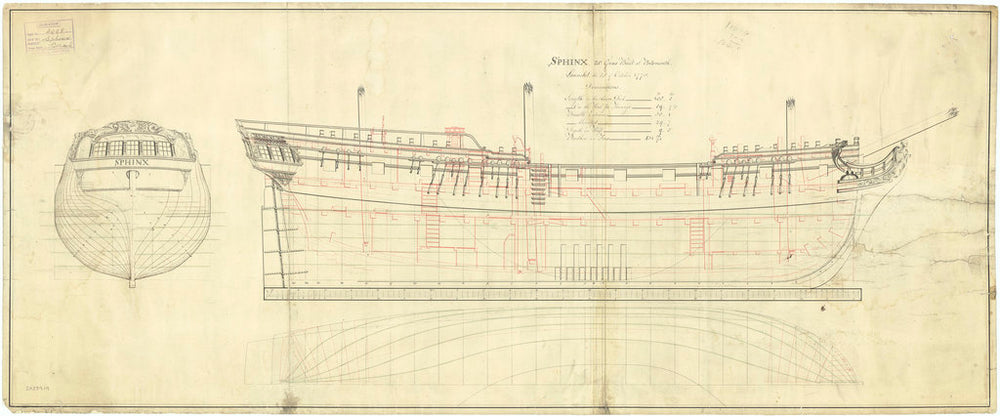 Lines and profile plan of the 'Sphinx' (1775)