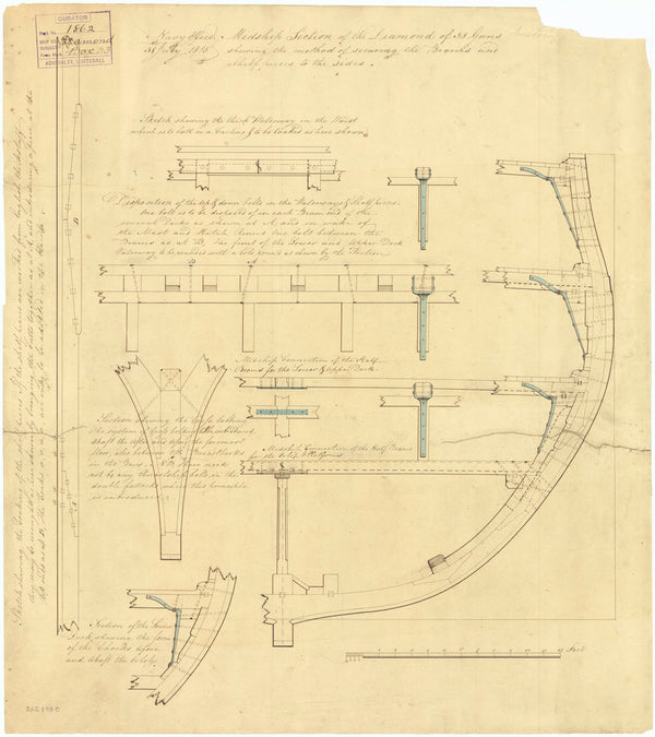 Midship section plan of 'Diamond' (Br, 1816)