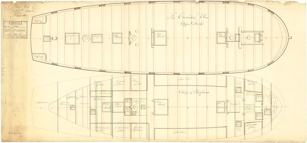 Upper and lower decks plan of HMS 'Curieux' (1804)