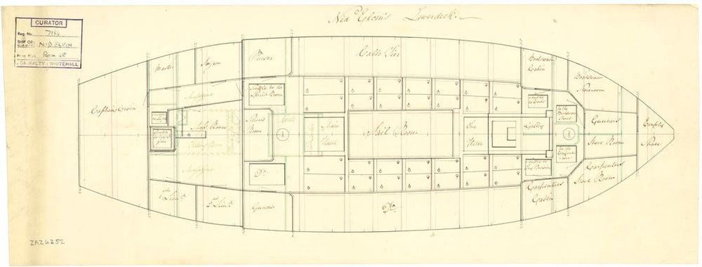 Lower deck plan for 'Nid Elvin' (fl. 1807)