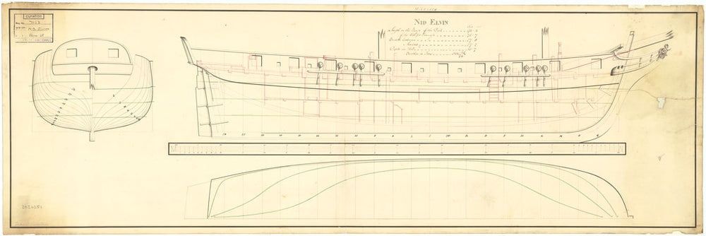Lines and profile plan for 'Nid Elvin' (fl. 1807)