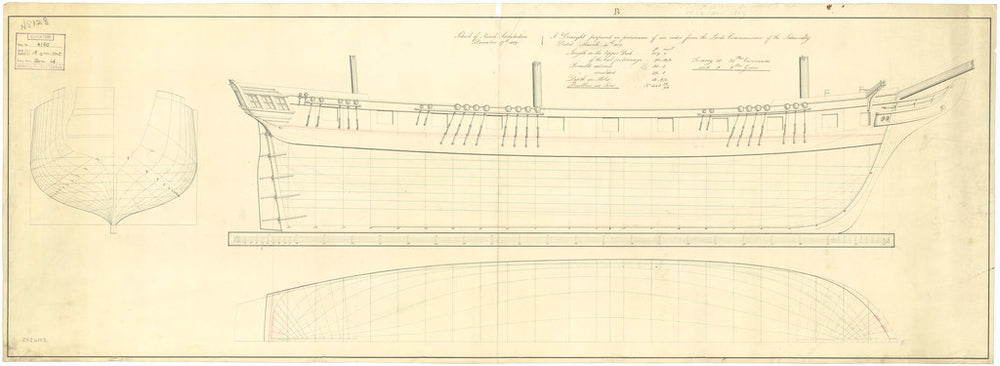 Body, sheer lines, and longitudinal half-breadth plan for a proposed 109ft three-masted, 18-gun ship sloop