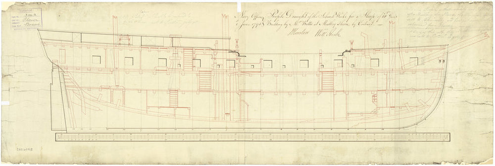 Inboard profile plan for Plover (1796); Brazen (cancelled 1799)