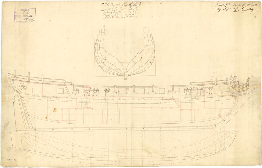 Lines and profile plan of 'Weazle' (Br, 1745)