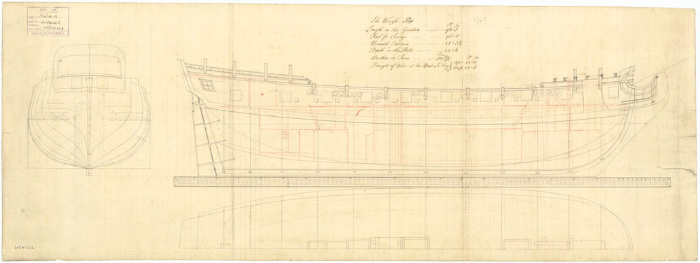 Lines and profile plan of 'Weazle' (1745)