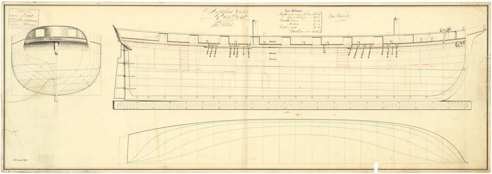 Lines & profile plan of the captured French ship 'Jalouse' (1797)
