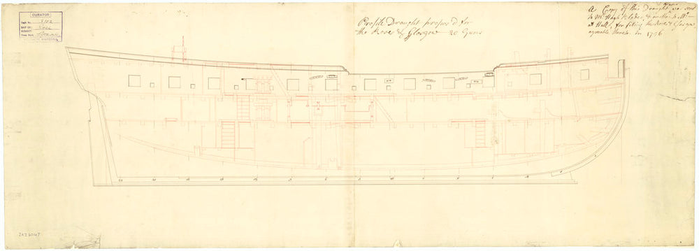 The 'Rose' (1757) inboard profile plan