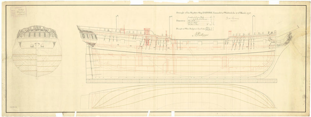 Lines & profile plans of Daphne (1776)