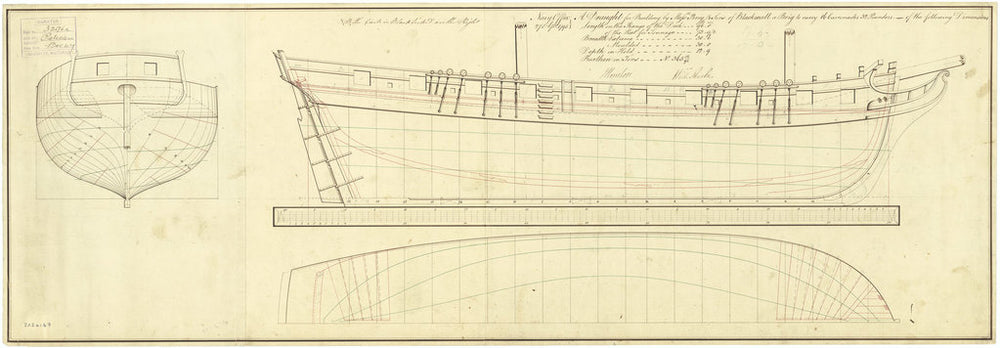 Body, sheer lines and longitudinal half-breadth plan for 'Pelican' (1795)