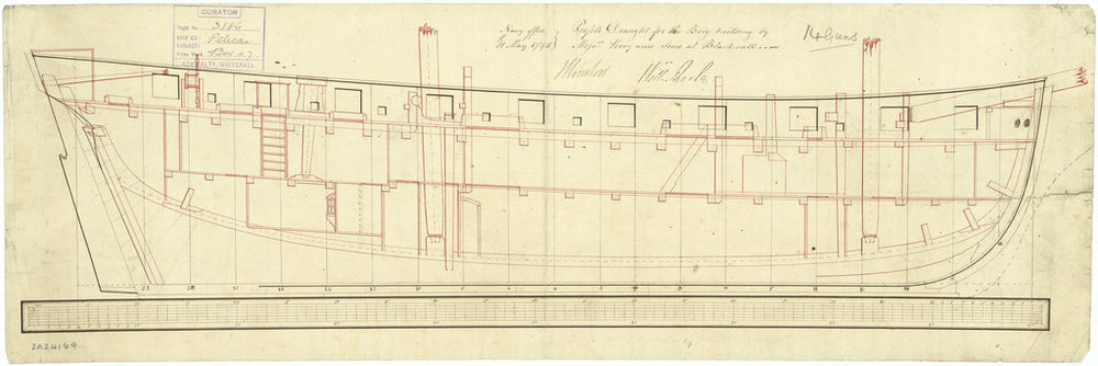 Inboard profile plan for 'Pelican' (1795)