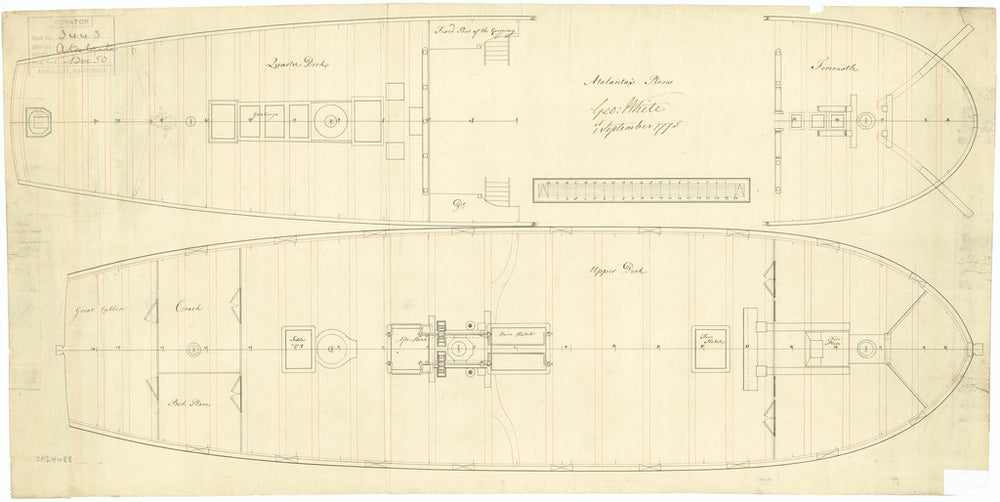 Upper deck plan of Atalanta (1775)