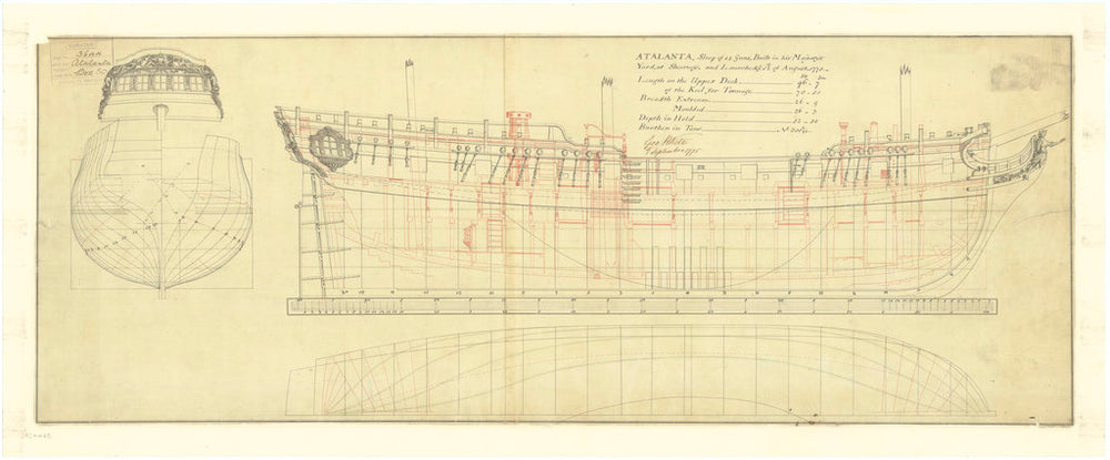 Lines and profile plan of Atalanta (1775)