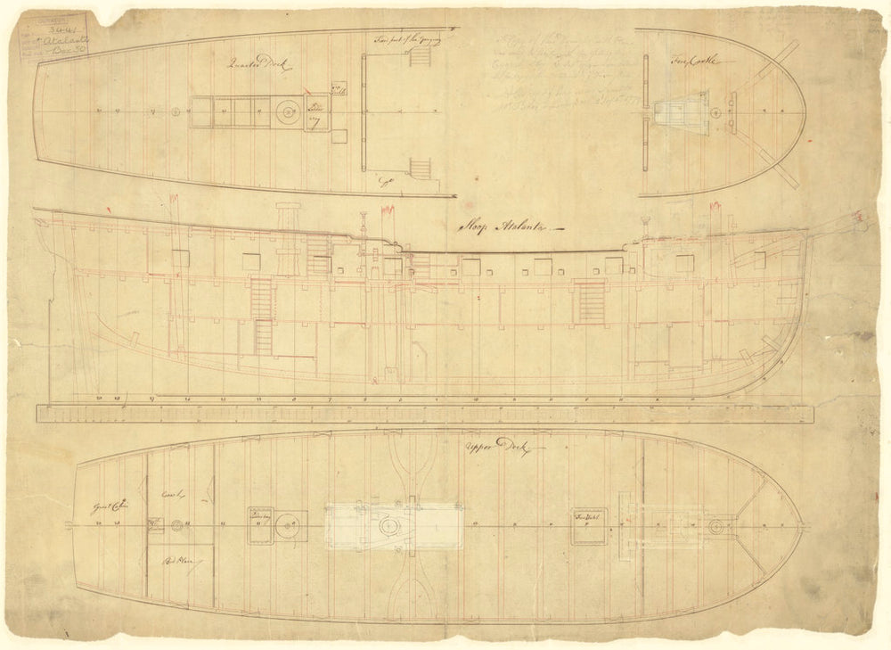 Inboard profile plan of HMS 'Atalanta' (1775) 'Cygnet' (1776)