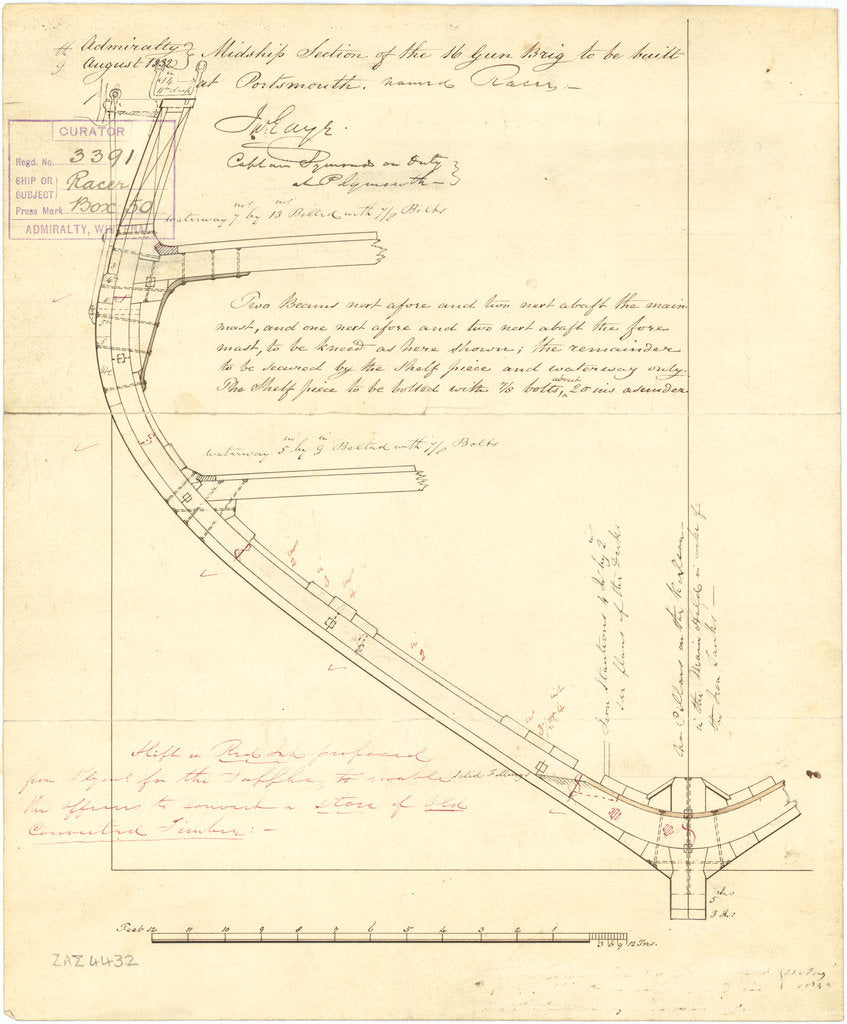 Plan showing a half midship section for Racer (1833), and the later proposed alterations for Sappho (1837)