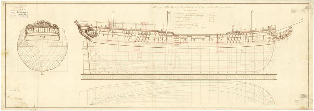 Plan showing the body plan and longitudinal half-breadth for Inspector (1782)