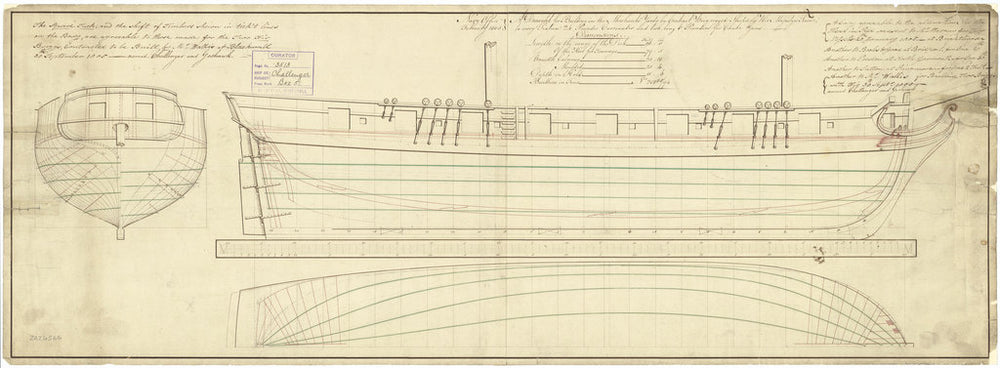 The body plan, sheer lines with scroll figurehead and longitudinal half-breadth plans for Goshawk (1805) and Challenger (1806)