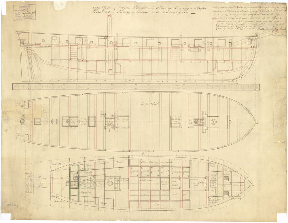 Inboard profile, upper deck, and lower deck plans with fore & aft platforms for Goshawk (1805) and Challenger (1806)