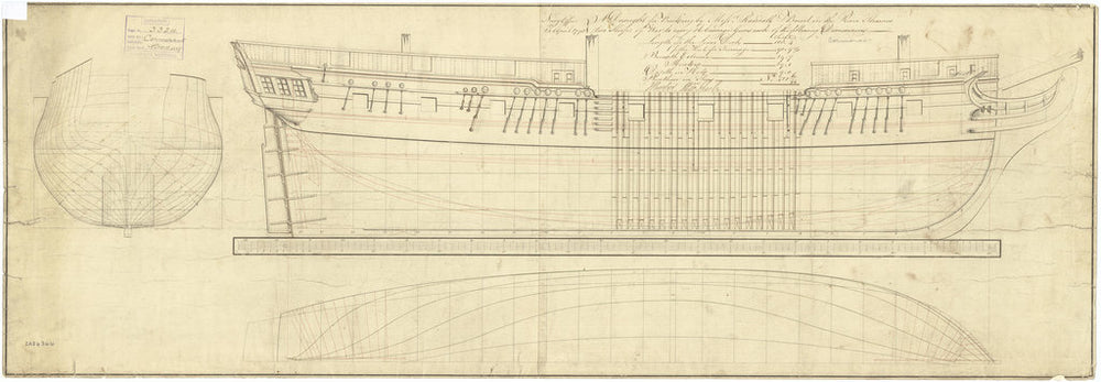 Body, sheer lines, and longitudinal half-breadth plan for Cormorant (1794) and Favourite (1794)