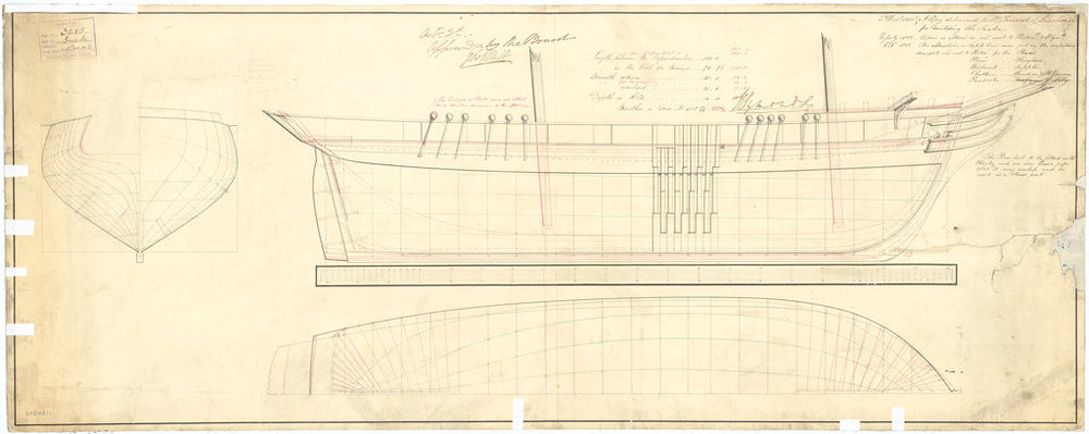 Plan showing the body plan, sheer lines and longitudinal half-breadth for Snake (1832) and Serpent (1832), both 16-gun Second Class Brigs