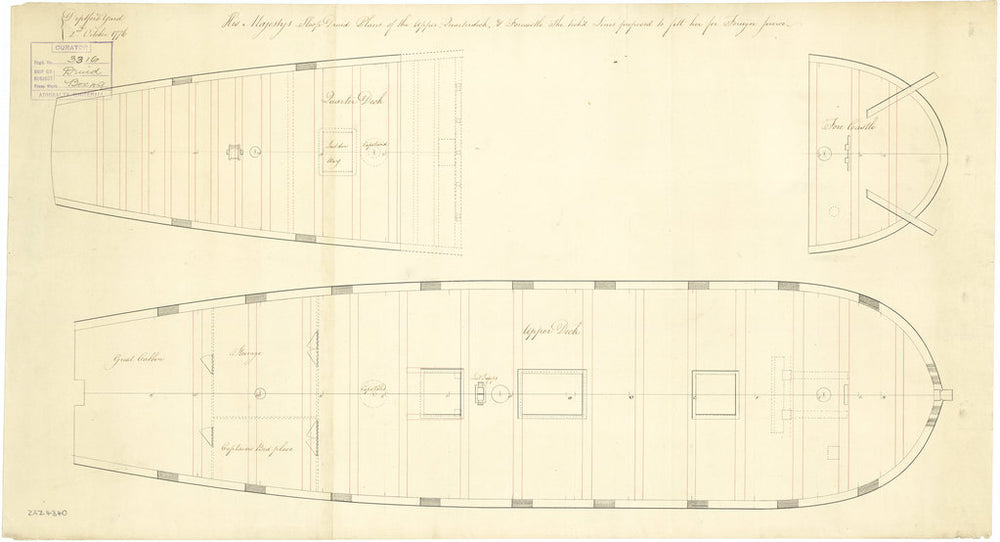 Upper deck plan for Druid (purchased 1776)