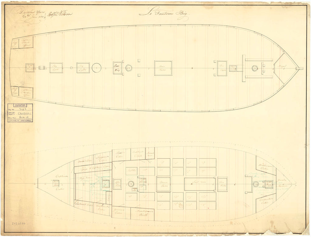 Plan showing the upper deck, and lower deck with fore & aft platforms for Fantome (1810)