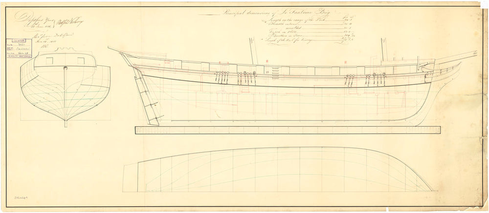 Plan showing the body plan and longitudinal half-breadth for Fantome (1810)