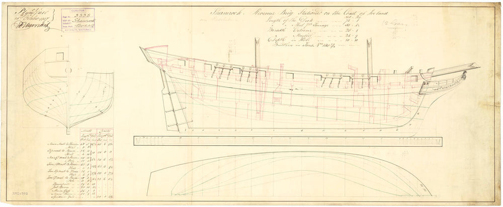 Lines and profile plan of vessel Shamrock (1798?)