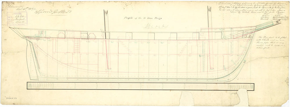 Plan showing the inboard profile for Snake (1832) and Serpent (1832)