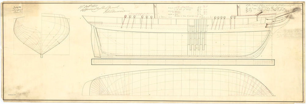 Plan showing the body plan, sheer lines with midship framing, and longitudinal, half-breadth proposed (and approved) for Snake (1832) and Serpent (1832)