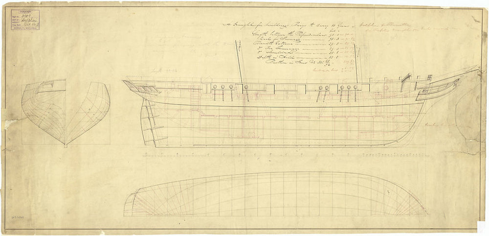 Lines and profile plan for 'Dolphin' (1836); 'Bonetta' (1836)