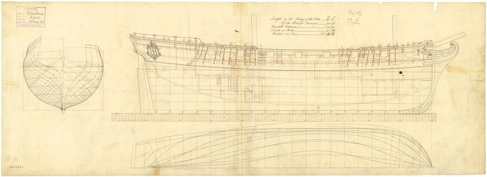 The 'Vulture' (1763) lines and profile plans