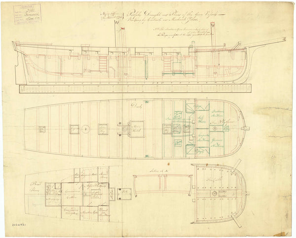 Inboard profile plan for 'Aimwell' (1794)
