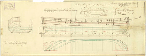 Lines plan for 'Adder', a gun vessel rigged as a Brig