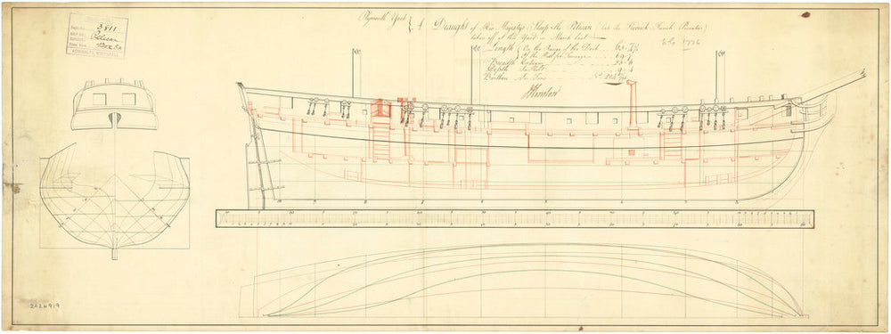 Lines and profile plan for Frederic (fl.1781) and Pelican (1781)