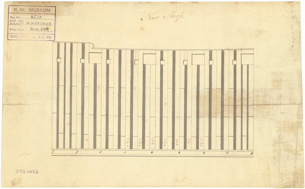 Plan of frame at midship of Kingfisher (1770)